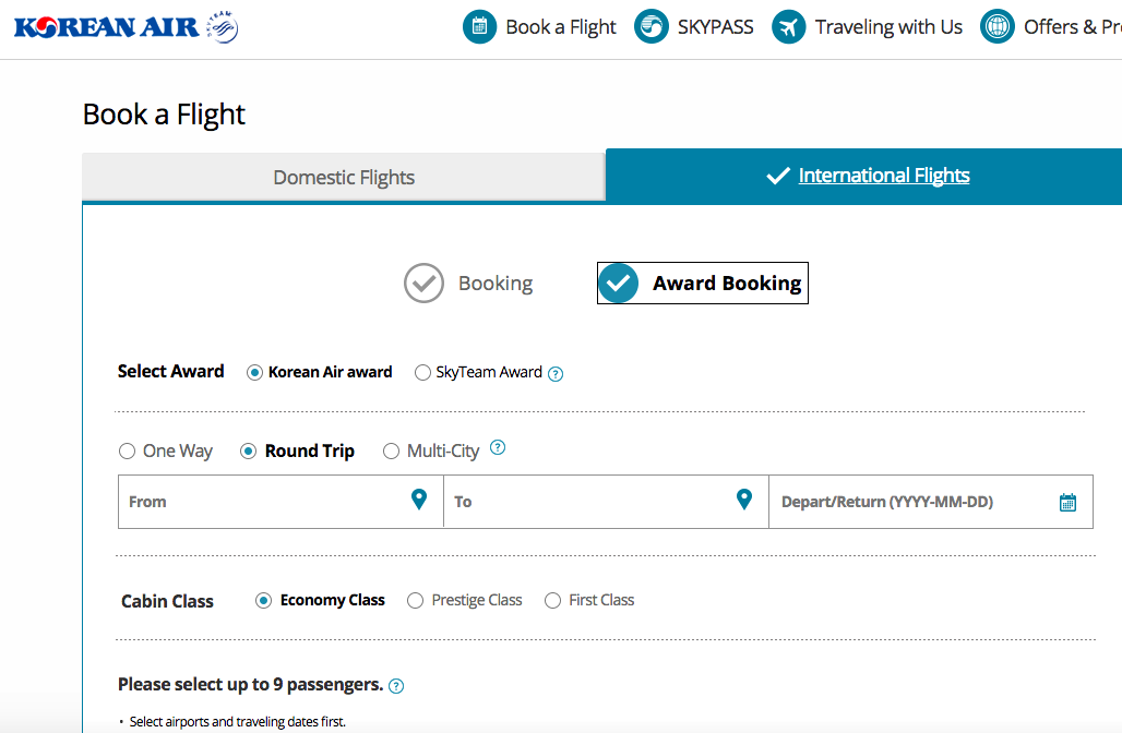 How to Book Korean Air SkyPass Awards on Partners Online