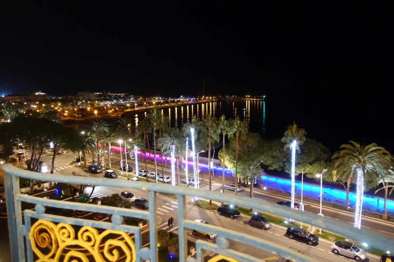 View from Grand Hyatt Cannes Martinez at Night