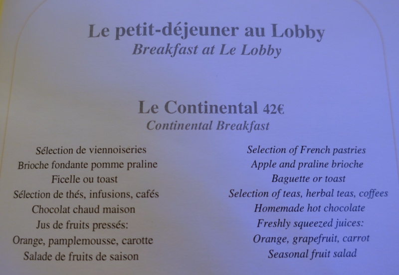 The Peninsula Paris Continental Breakfast Menu