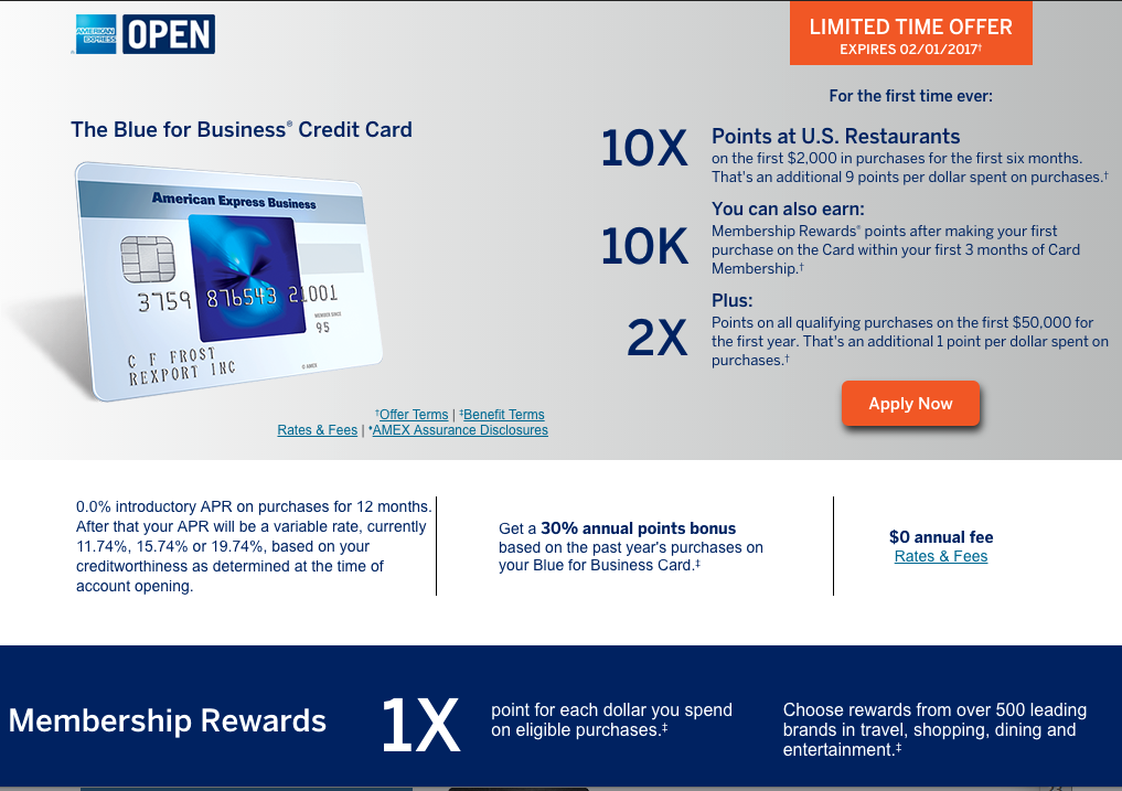 10X at U.S. Restaurants for 6 Months with AMEX Blue for Business Card