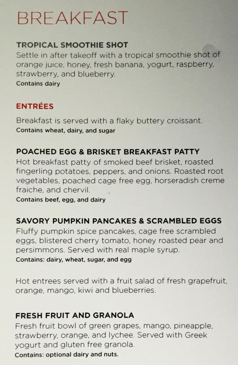 Virgin America First Class Breakfast Menu
