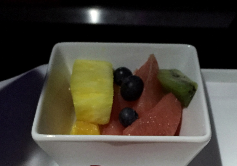 Breakfast Fruit, Virgin America First Class Review
