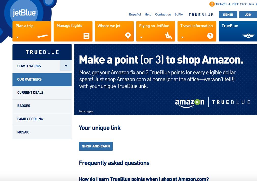 Earn 3X JetBlue TrueBlue Points for Amazon Spend