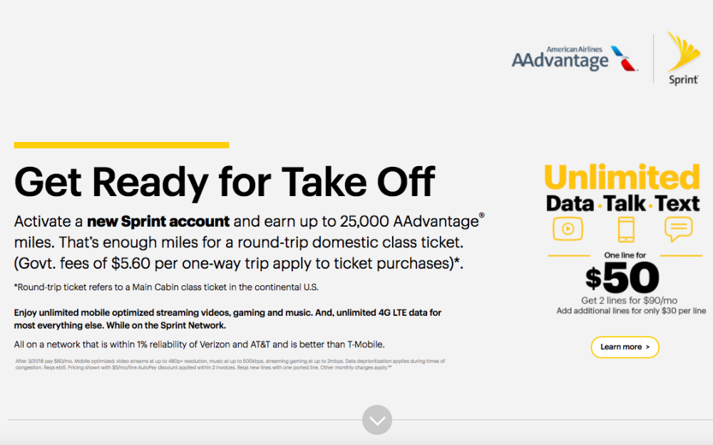 25K AAdvantage Miles for New Sprint Account