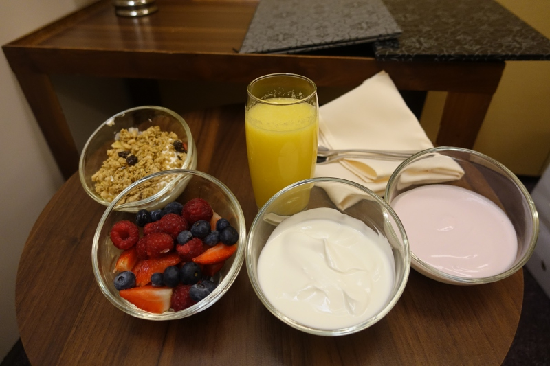 Breakfast Yogurt and Fruit, British Airways Concorde Room Review