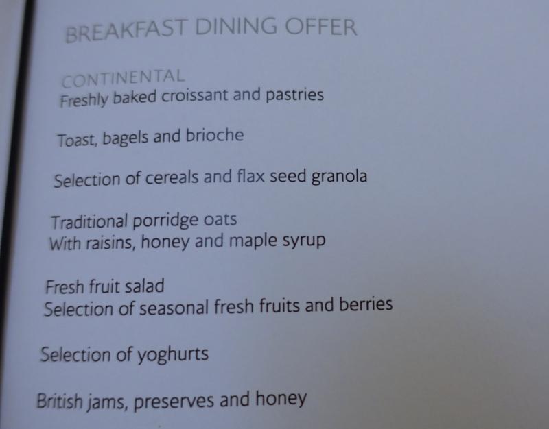 Concorde Room Breakfast Menu
