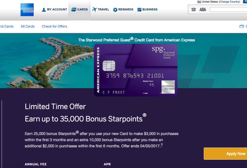 35K SPG AMEX and 35K SPG Business AMEX