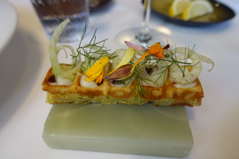 Waffle Accompanying Poached Foie Gras, Gabriel Kreuther NYC Review