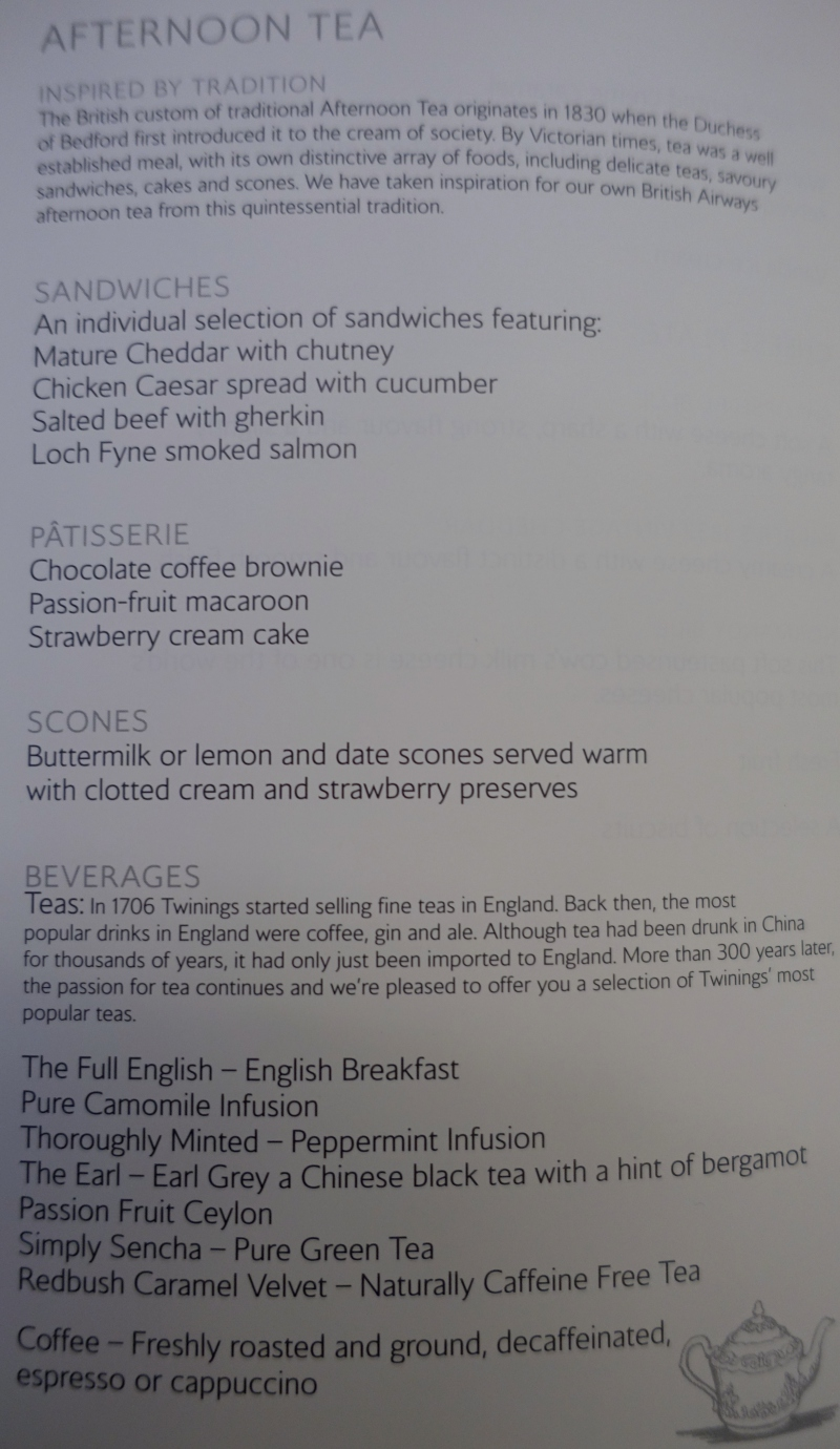 Afternoon Tea Menu, British Airways First Class