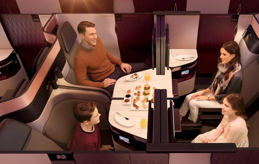 Qatar New Business Class QSuite Quad Seating for Family