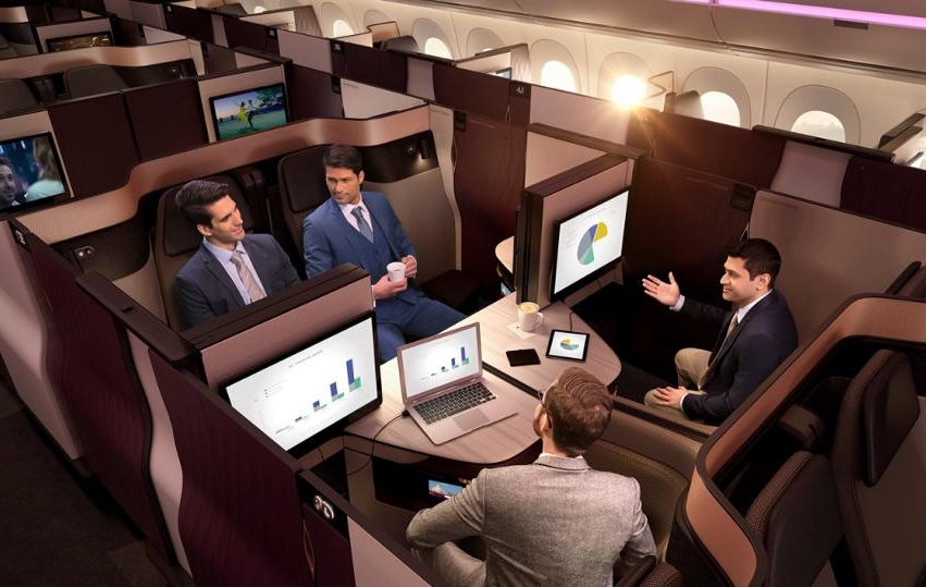 Qatar New Business Class QSuite Quad for Business Meetings