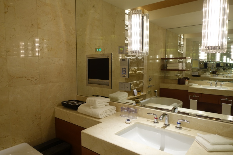 Premier Bathroom with Dual Vanities and TV, Peninsula Tokyo Review