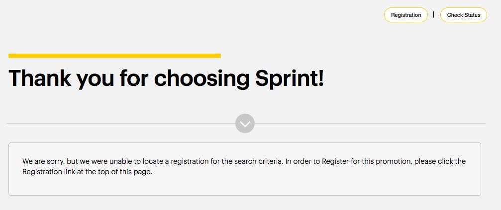 Sprint Bonus Offer Not Verified on Check Status Page