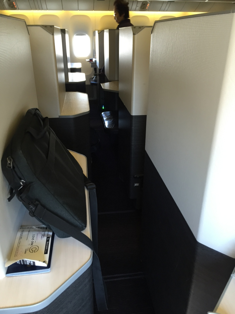 Narrow access to JAL 777-300ER Business Class Window Sky Suites