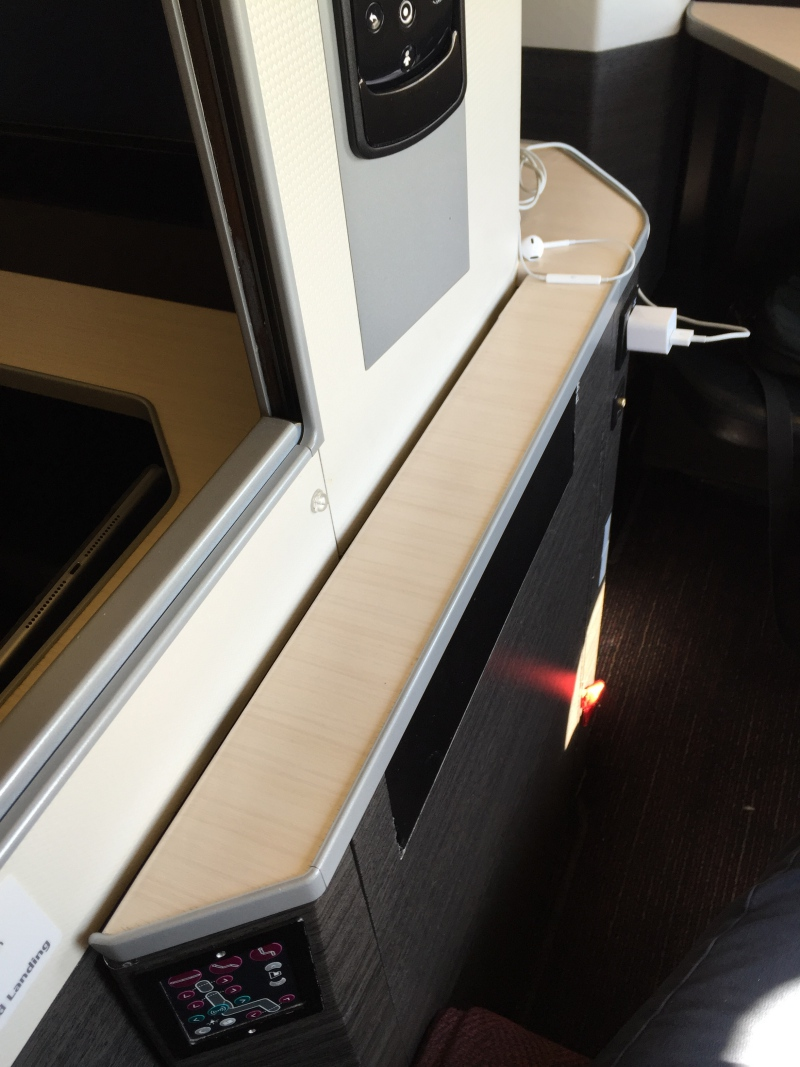 JAL 777-300ER Business Class Sky Suite Shelf and Power Outlet