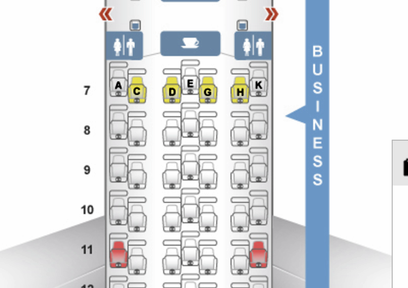 Japan Airlines 777-300ER Business Class Seat Map