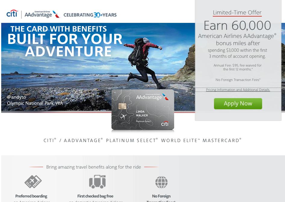 60K Citi AAdvantage Platinum Select Bonus Offer