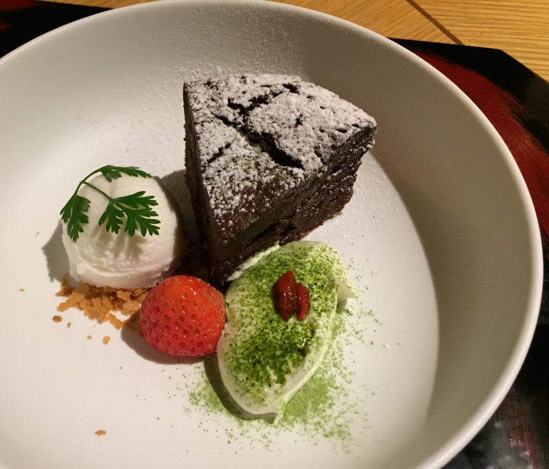 Chocolate Cake with Matcha Cream, Amanemu