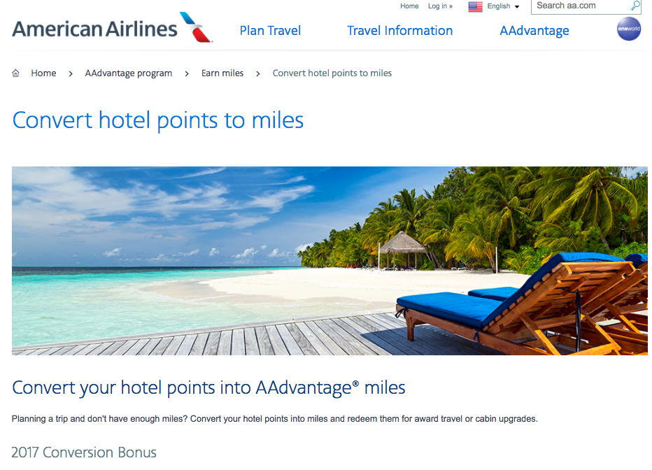Transfer Hotel Points to AAdvantage with a 25% Bonus