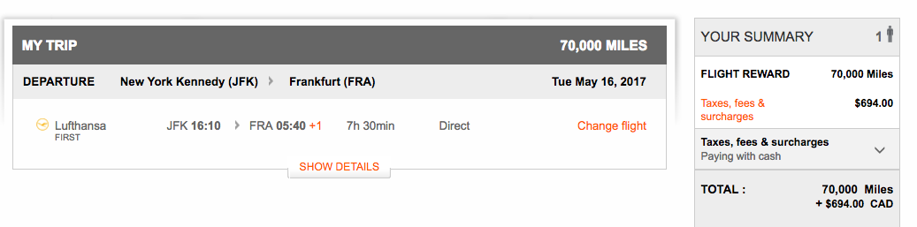Lufthansa First Class JFK to FRA: 70K Aeroplan Miles