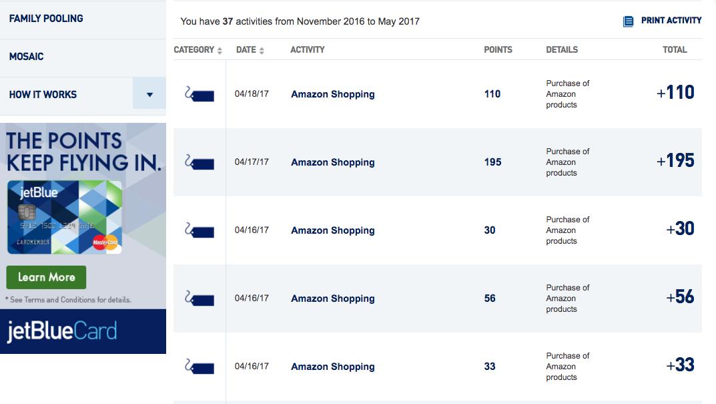 JetBlue TrueBlue Points from Amazon Spend