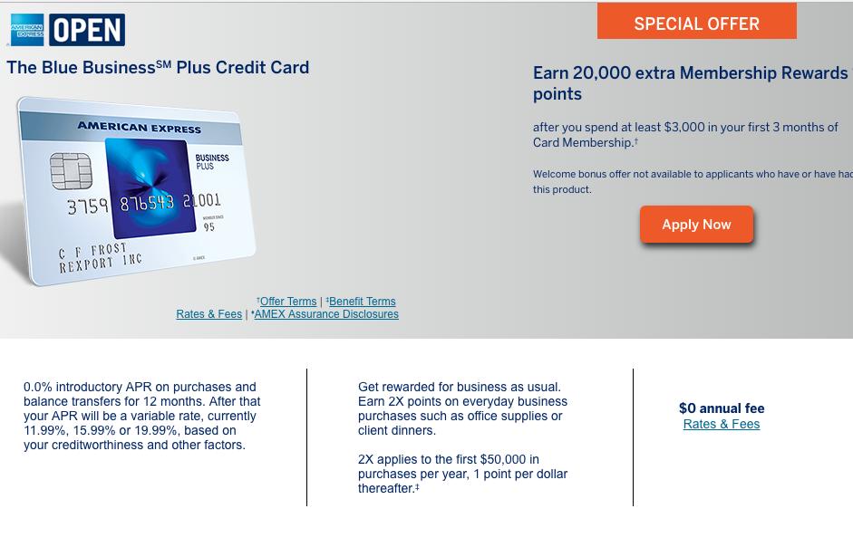 20K AMEX Blue Business Plus: 2X Membership Rewards Points Everywhere
