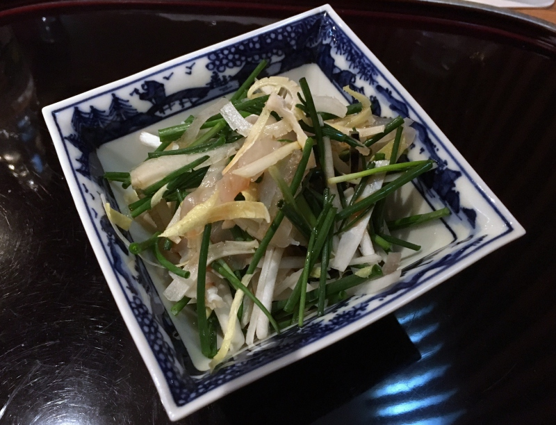 Fugu (Blowfish) with Green Onion and Chili, Kikuchi, Tokyo Review