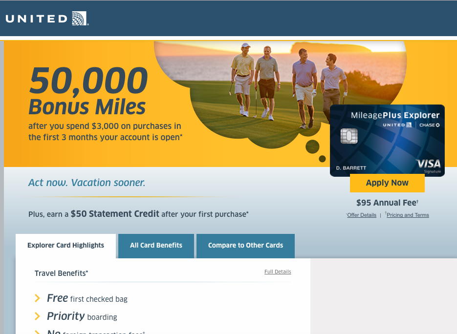 50K United MileagePlus Explorer Offer with $50 Statement Credit