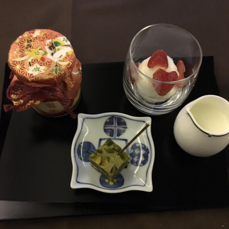 Japanese Dessert: Ice Cream, Pudding, Pistachio Cake, JAL First Class Review