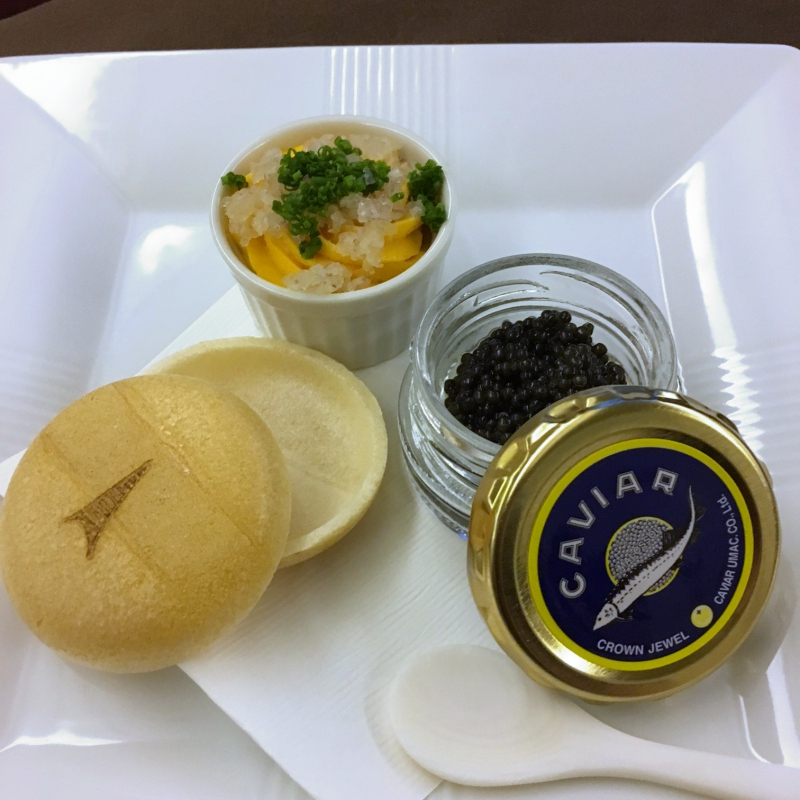 Caviar Presentation, JAL First Class Review