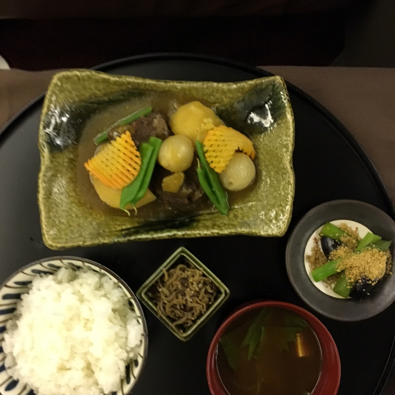 Braised Beef Cheek, Rice, Pickles and Miso Soup, JAL First Class Review