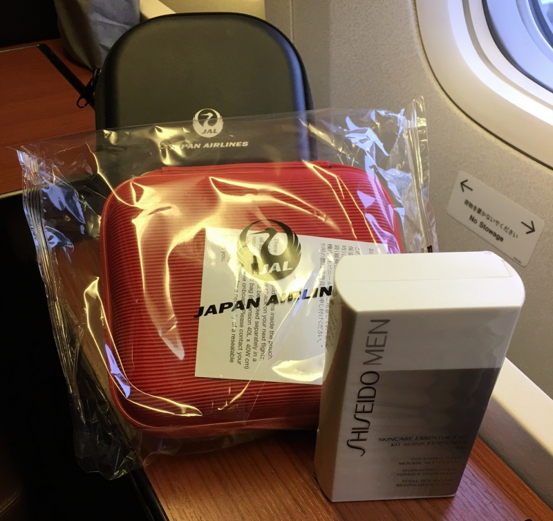 JAL First Class Amenity Kit and Shiseido Skincare