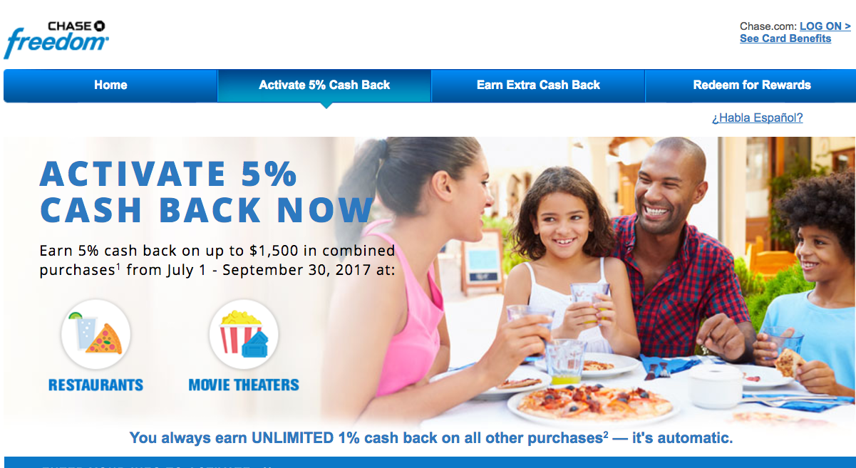 Activate Chase Freedom 5X for Restaurants and Movie Theaters Q3 2017