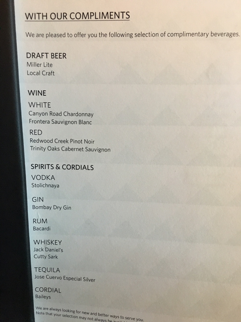 Delta Sky Club Seattle Complimentary Drink Menu
