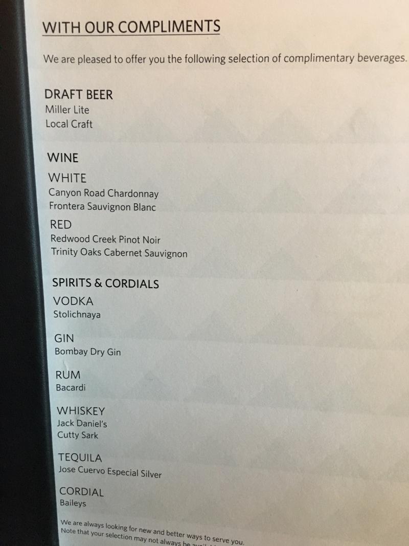 Delta Sky Club Seattle Complimentary Drink Menu