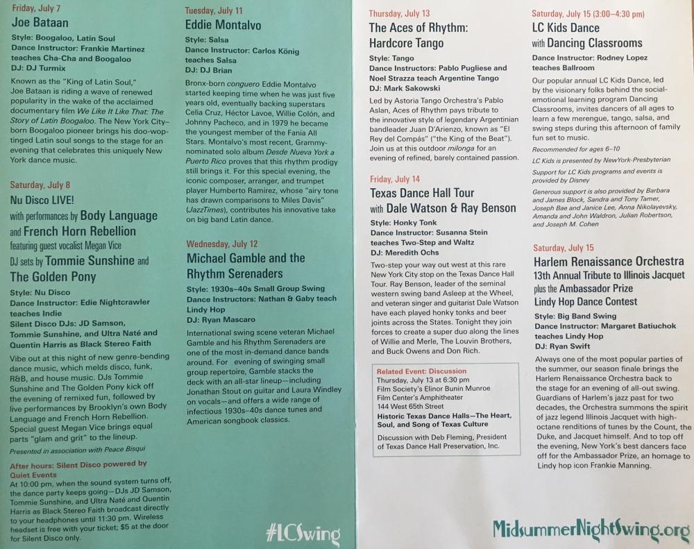 Lincoln Center Midsummer Night Swing Schedule 2017