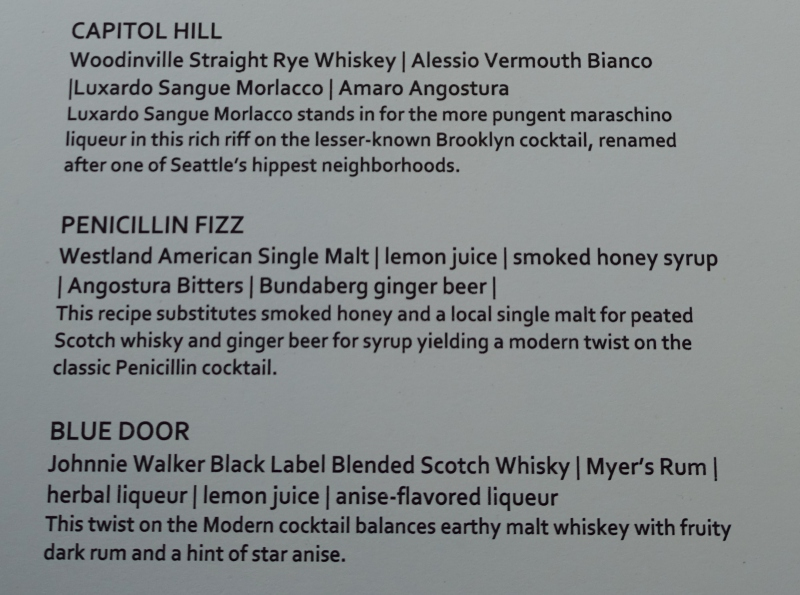 Cocktail List, AMEX Centurion Lounge Seattle Review