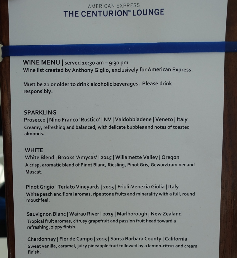 Wine List, AMEX Centurion Lounge Seattle Review