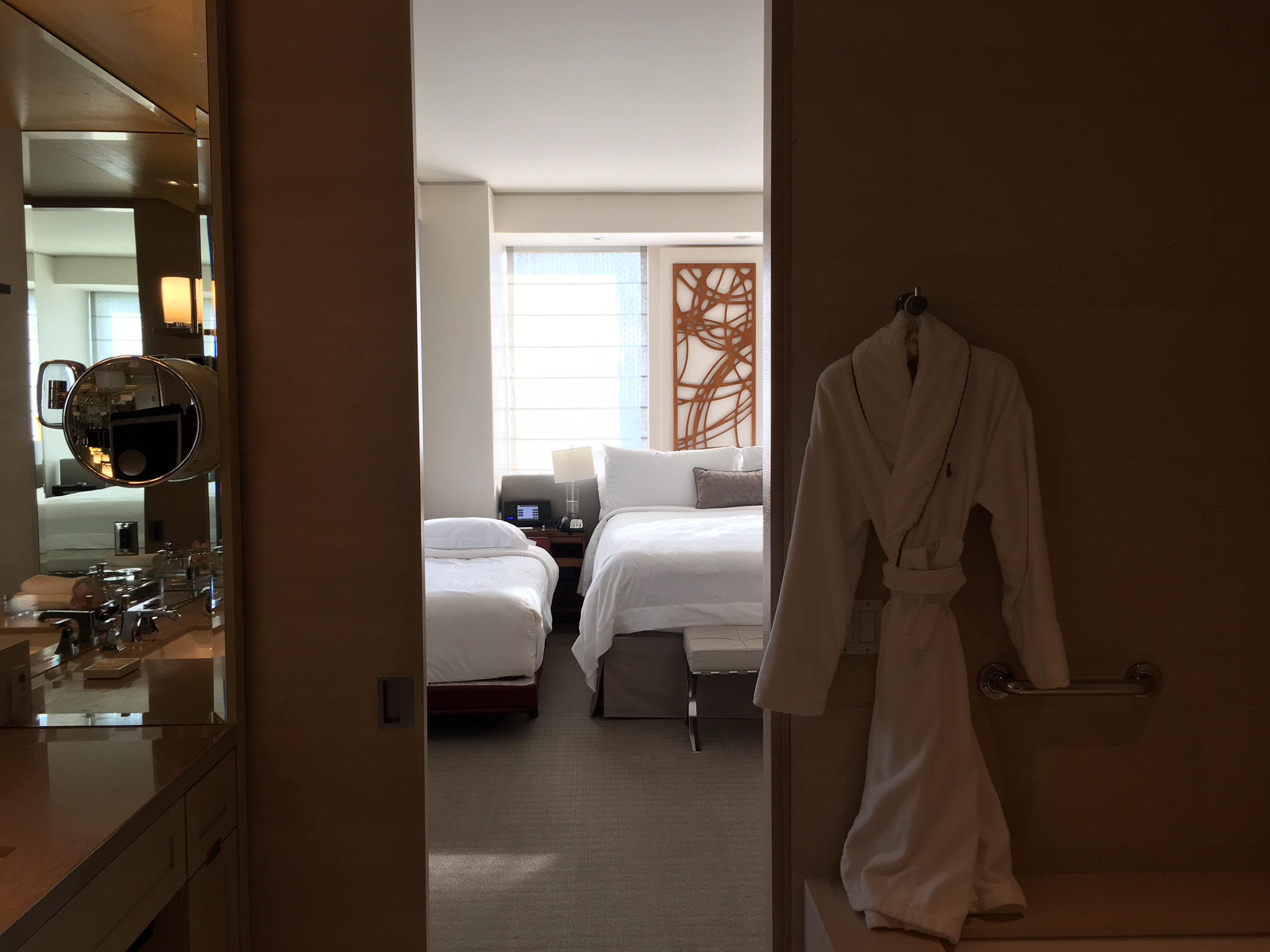 Bathrobe and View of Room from Bathroom