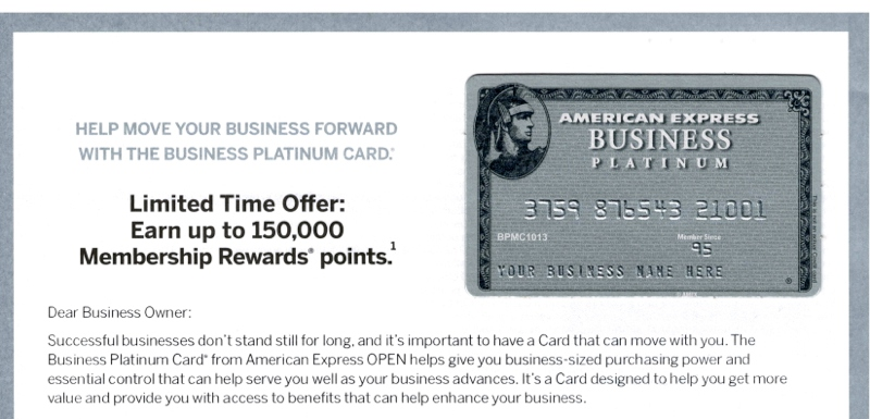 150K AMEX Business Platinum by Calling In (Targeted)