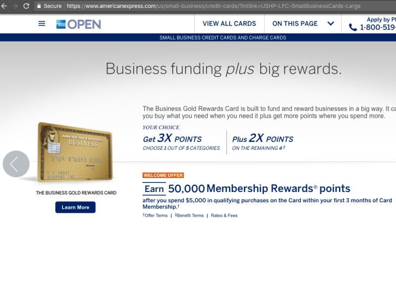 AMEX Business Gold Card, on AMEX Site Accessed through Baidu