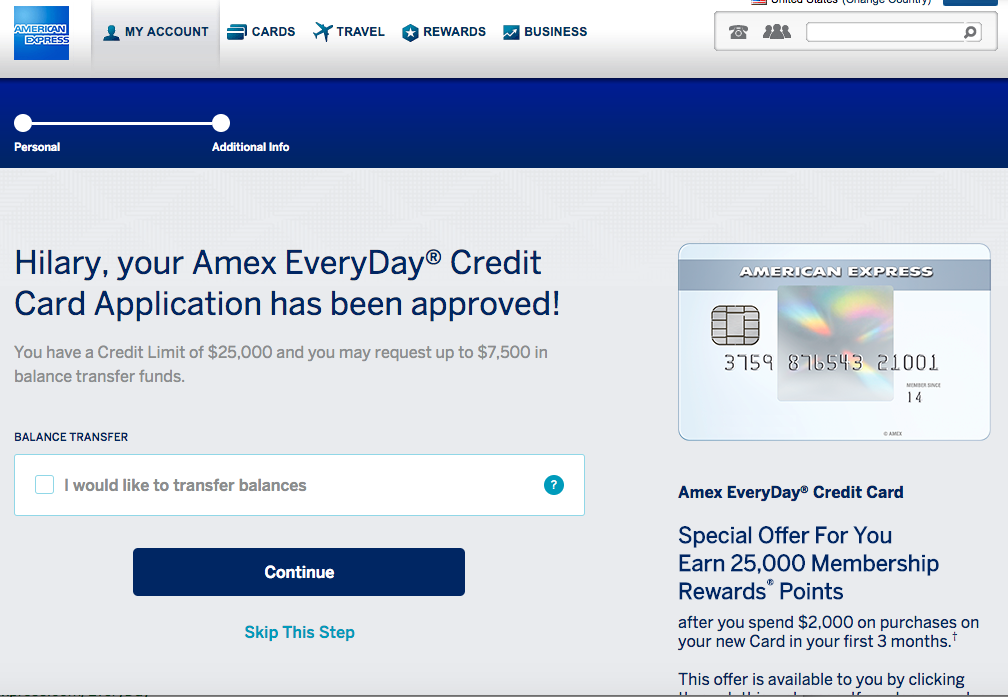 Approved for 25K AMEX EveryDay