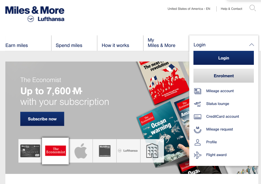 Earn 7600 Lufthansa Miles with a Subscription to The Economist