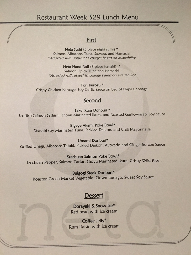 Neta NYC Restaurant Week Menu