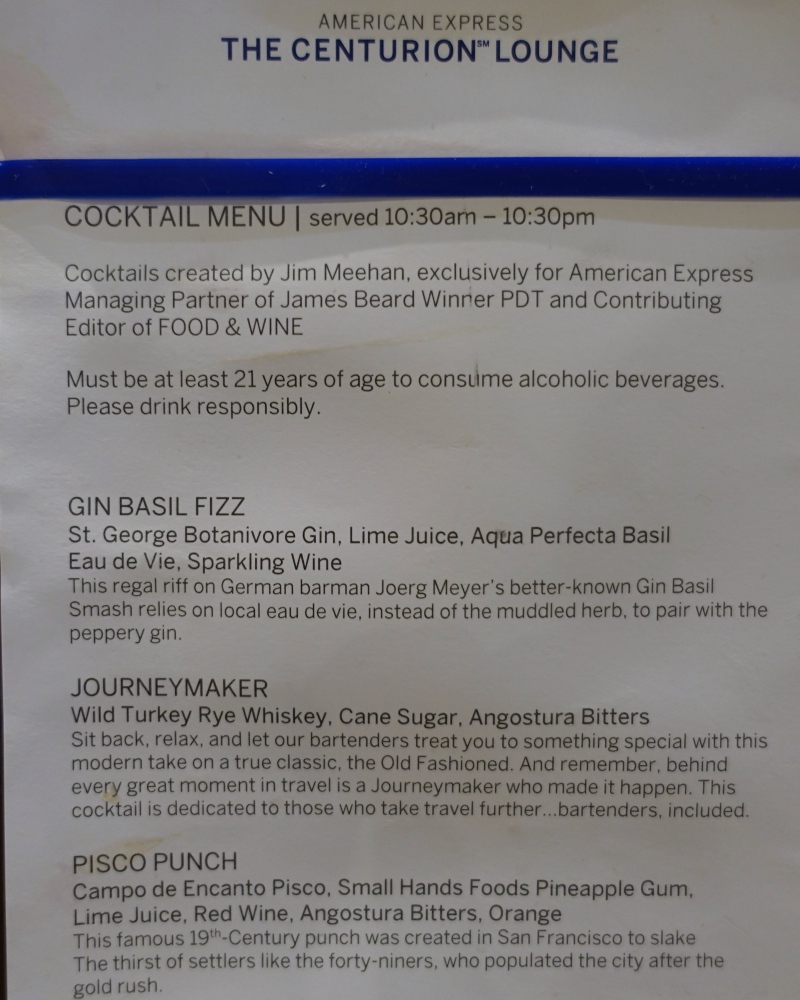 Cocktail Menu, AMEX Centurion Lounge SFO Review