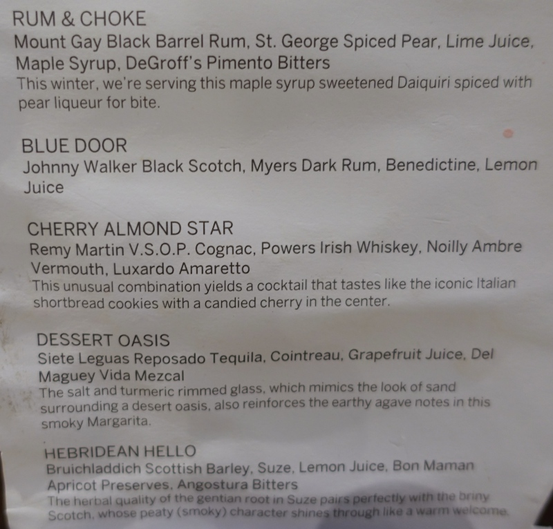 Cocktail Menu, AMEX Centurion Lounge SFO