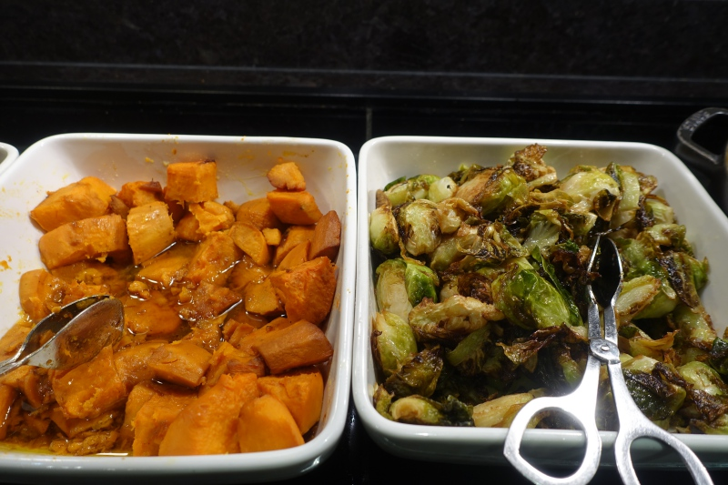 Sweet Potatoes and Brussels Sprouts, AMEX Centurion Lounge SFO Review