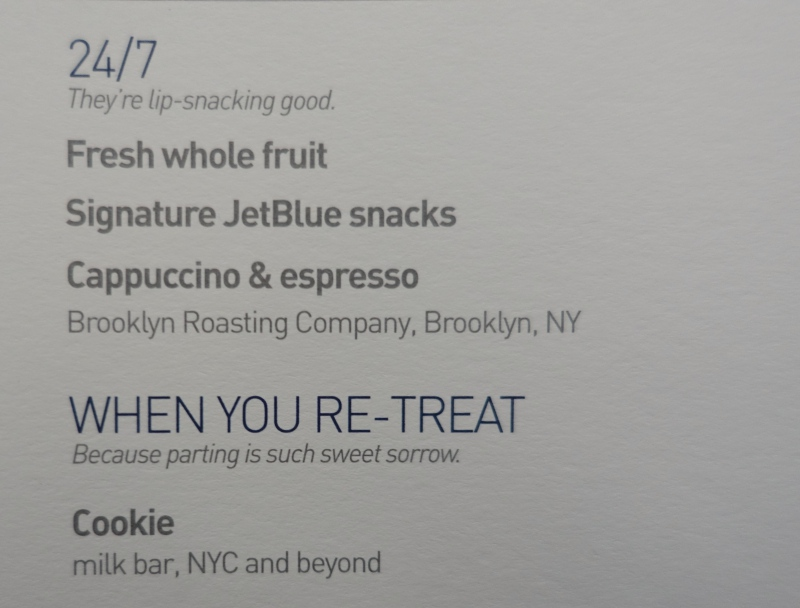 JetBlue Mint Snack Menu