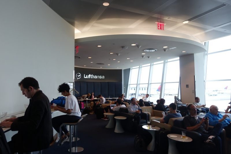 Crowded Lufthansa Business Class Lounge JFK