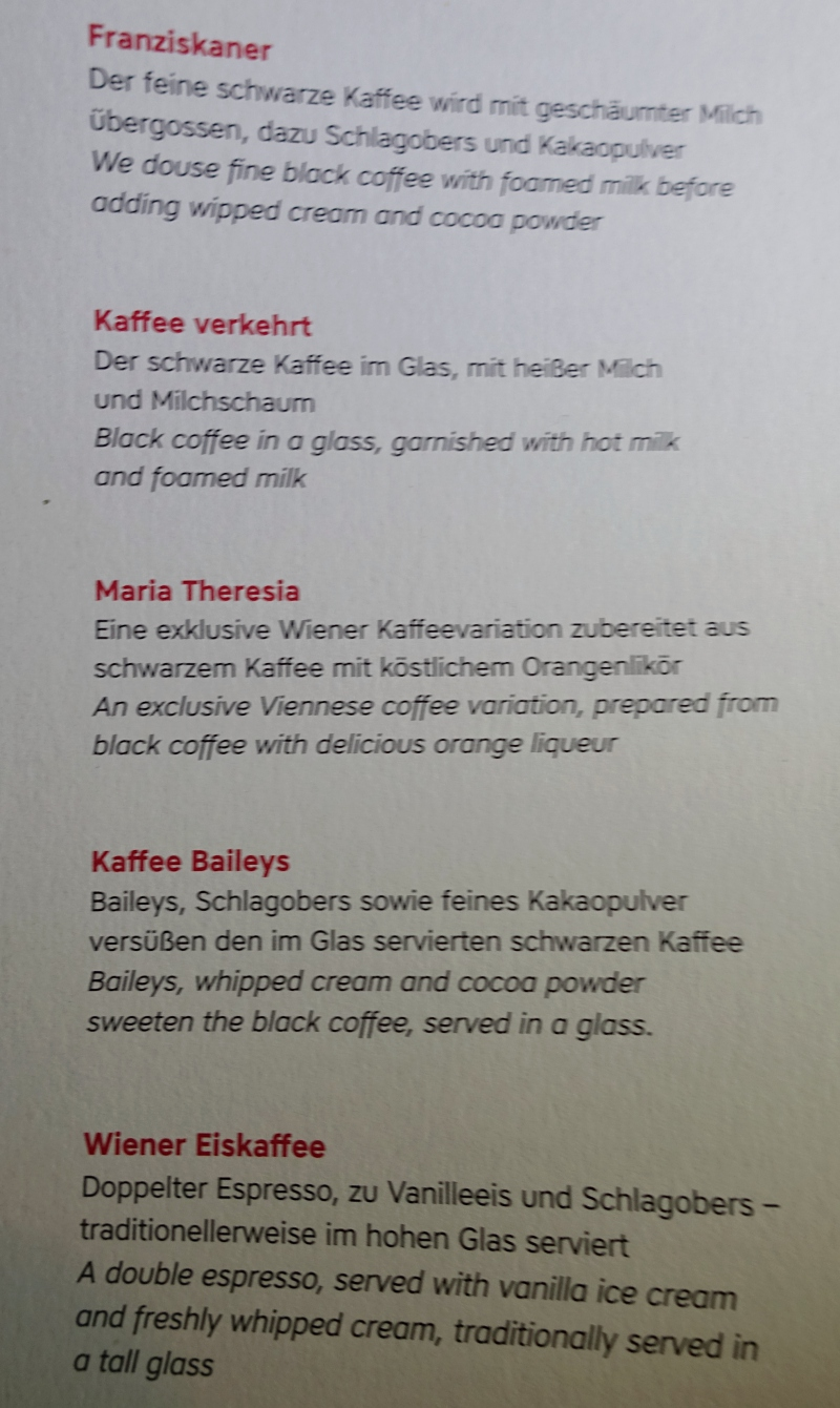 Austrian Business Class Coffee Menu